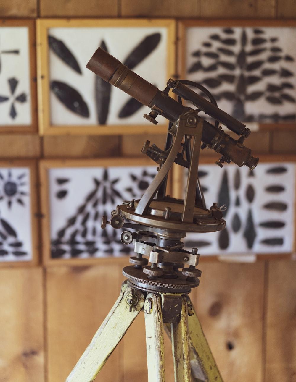 brown metal sextant