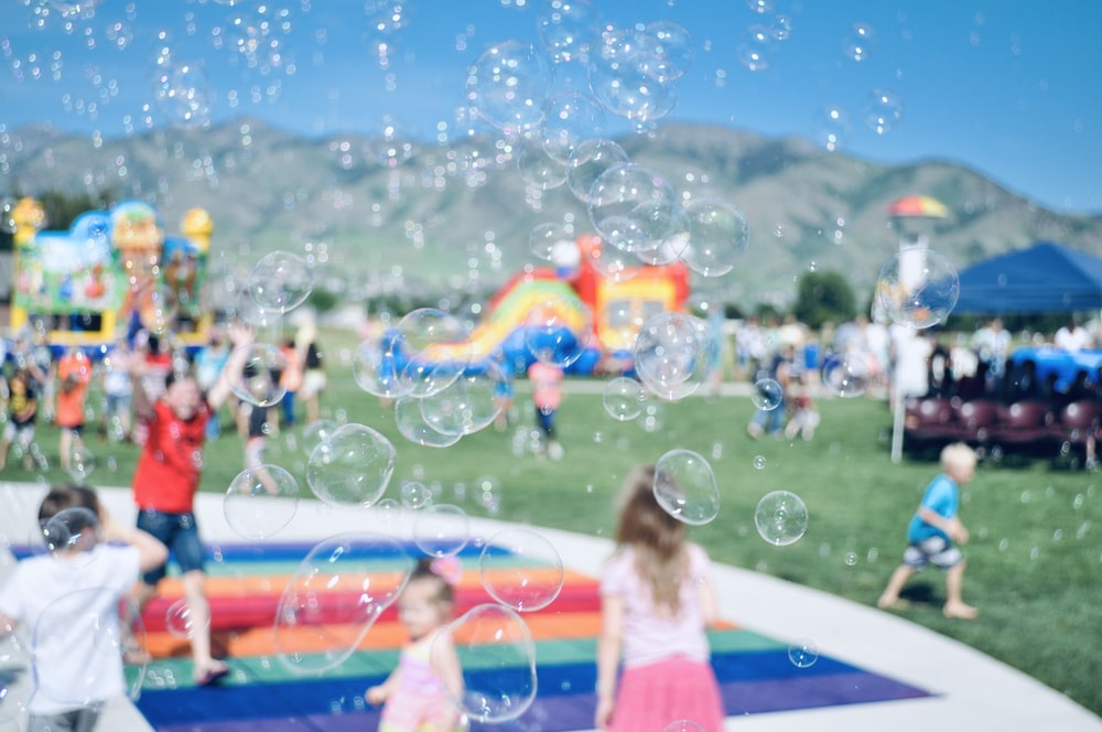 focus photography of bubbles