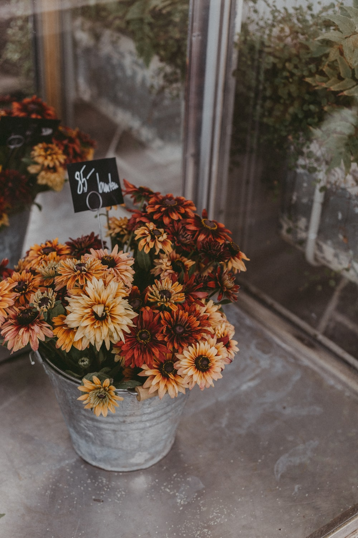 flowers in gray vase