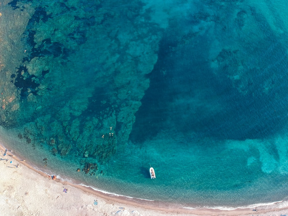 aerial photo of boat on body of water