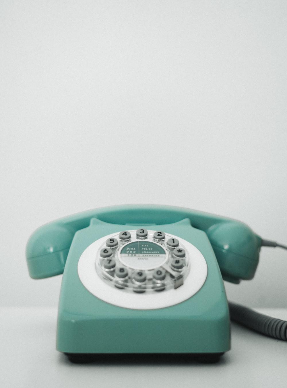 teal rotary telephone