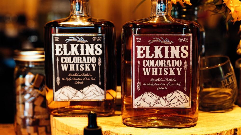 two Whisky bottles