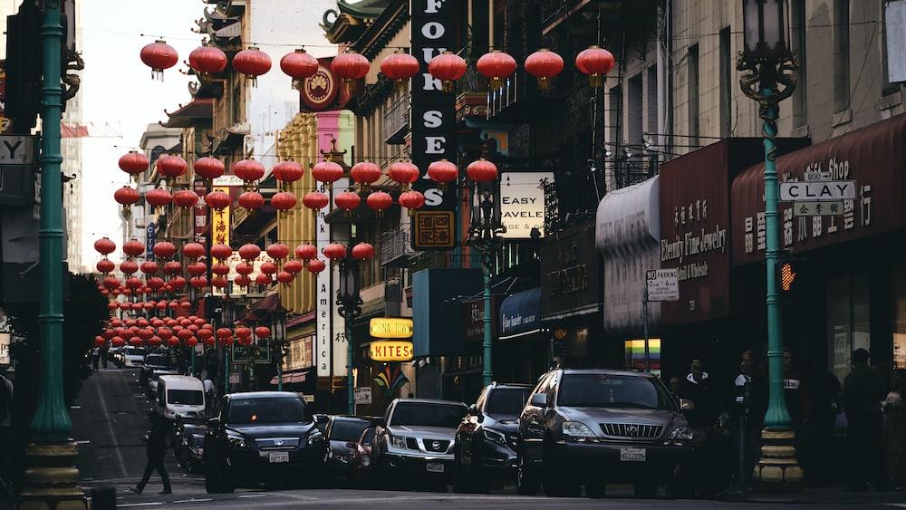 Clay street with orange paper lanterns