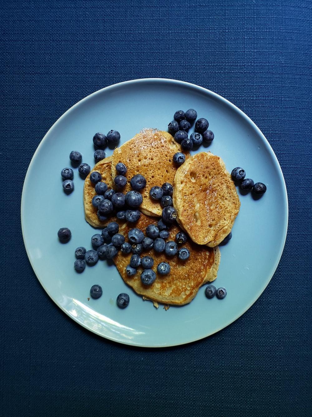 pancake and blueberries platter