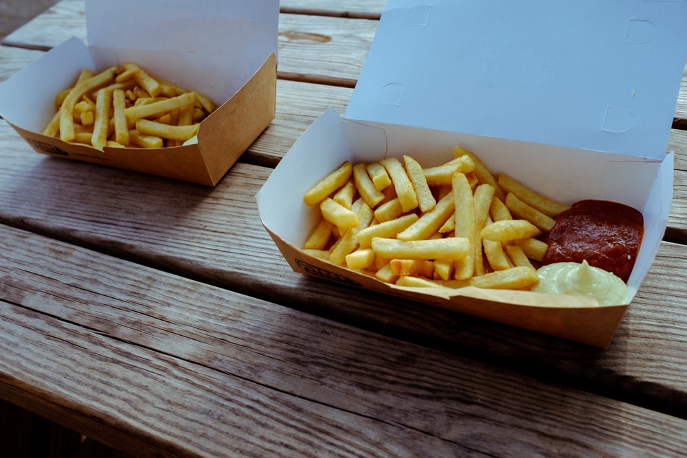 two French fries boxes