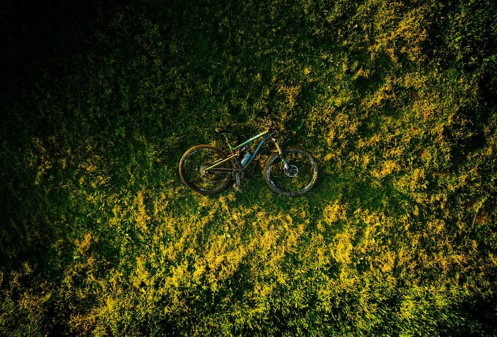 bike on it's side on grass