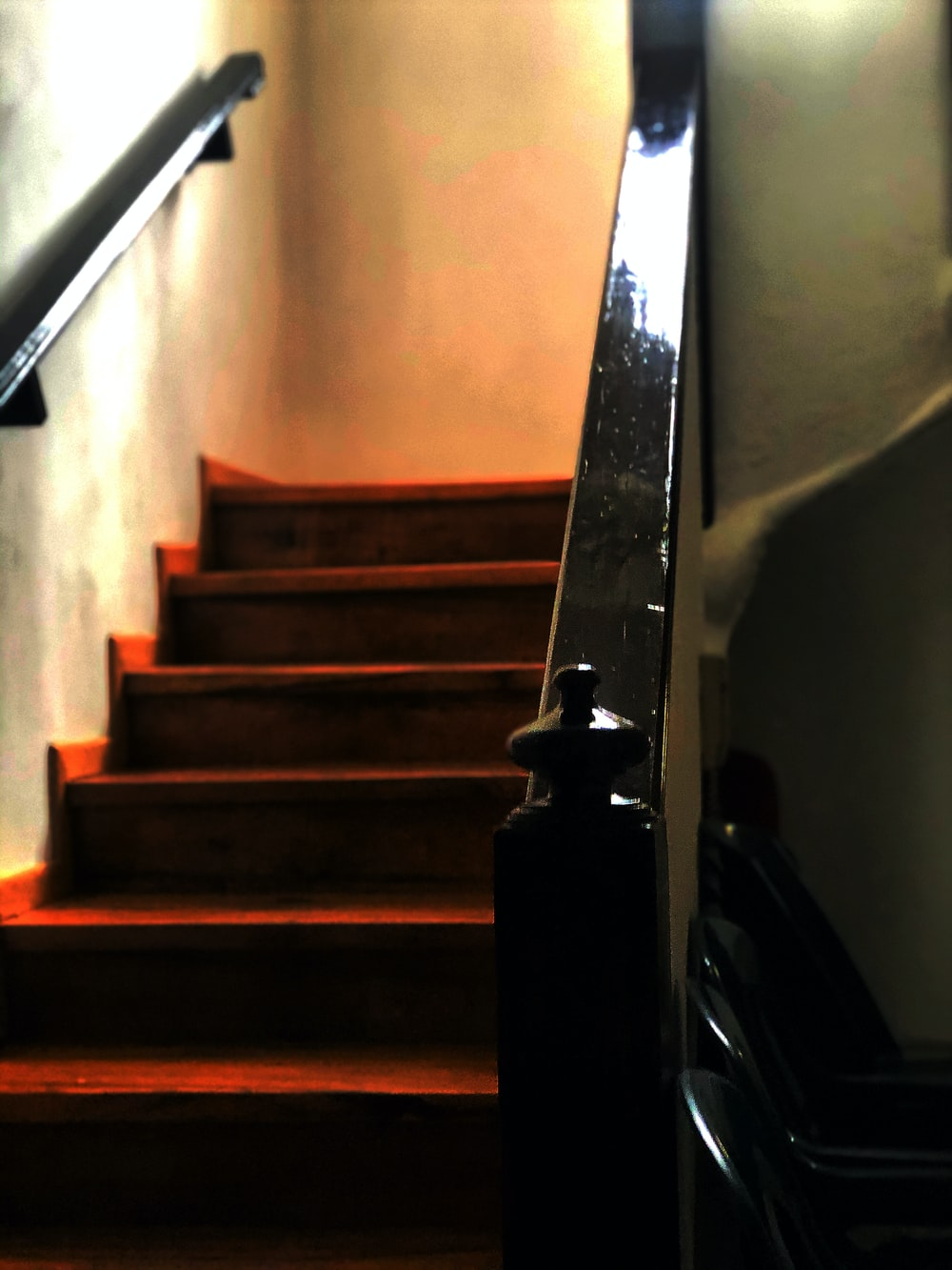 red concrete stairs