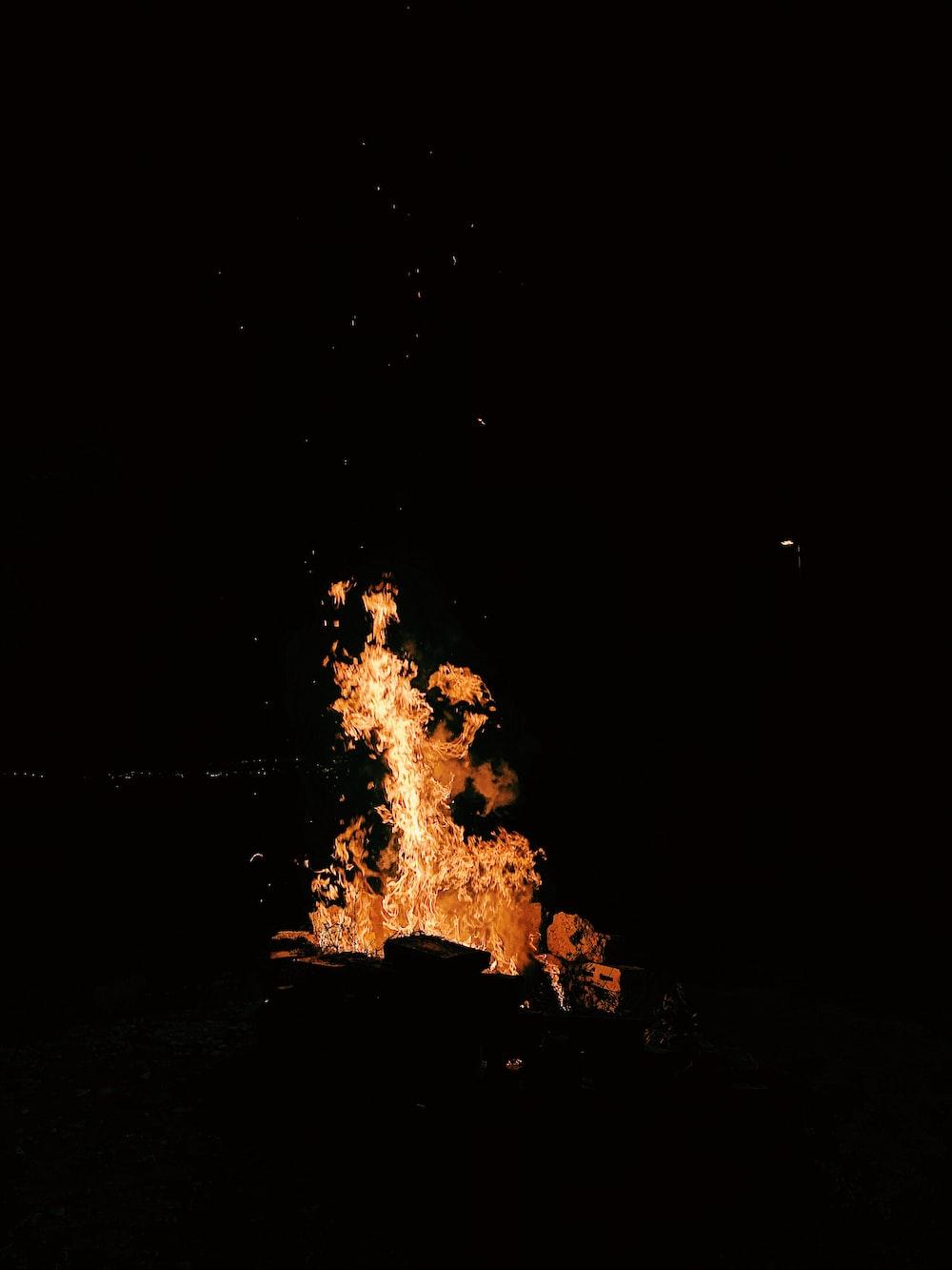 wood burning at night