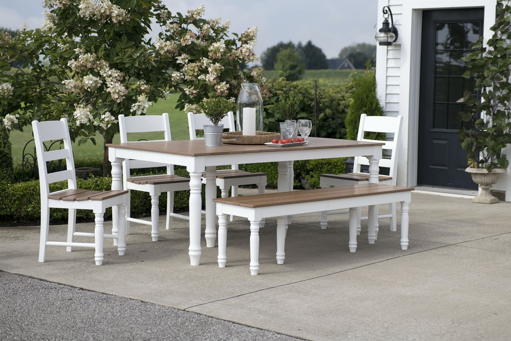 brown-and-white table and chair set