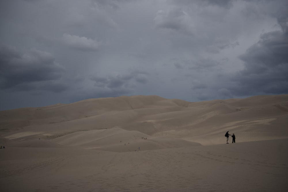 two person standing on desert