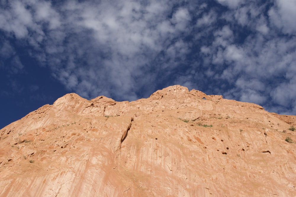 low angle photo of rock mountain