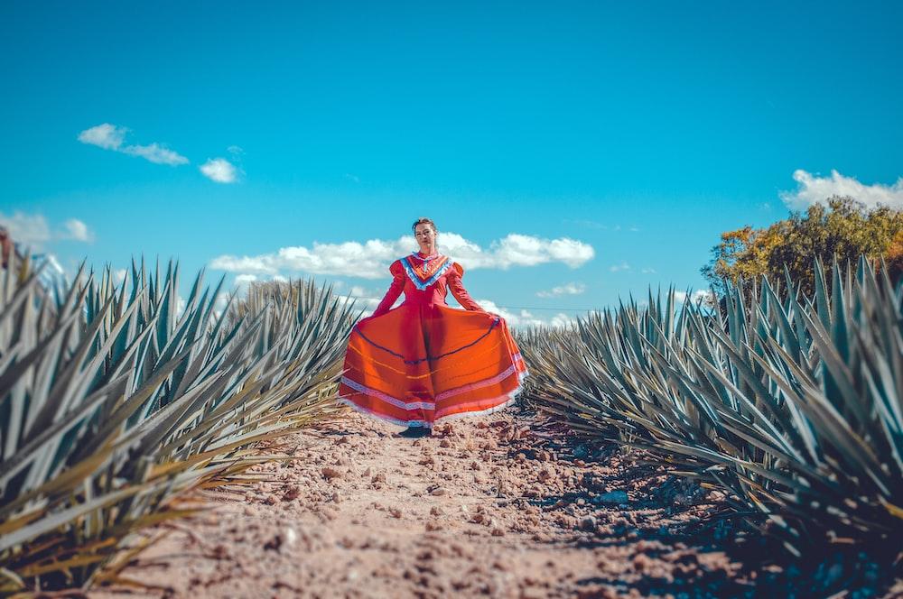 woman standing near pineapple field