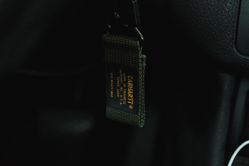 black and green woven nylon strap
