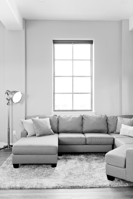gray fabric sectional sofa