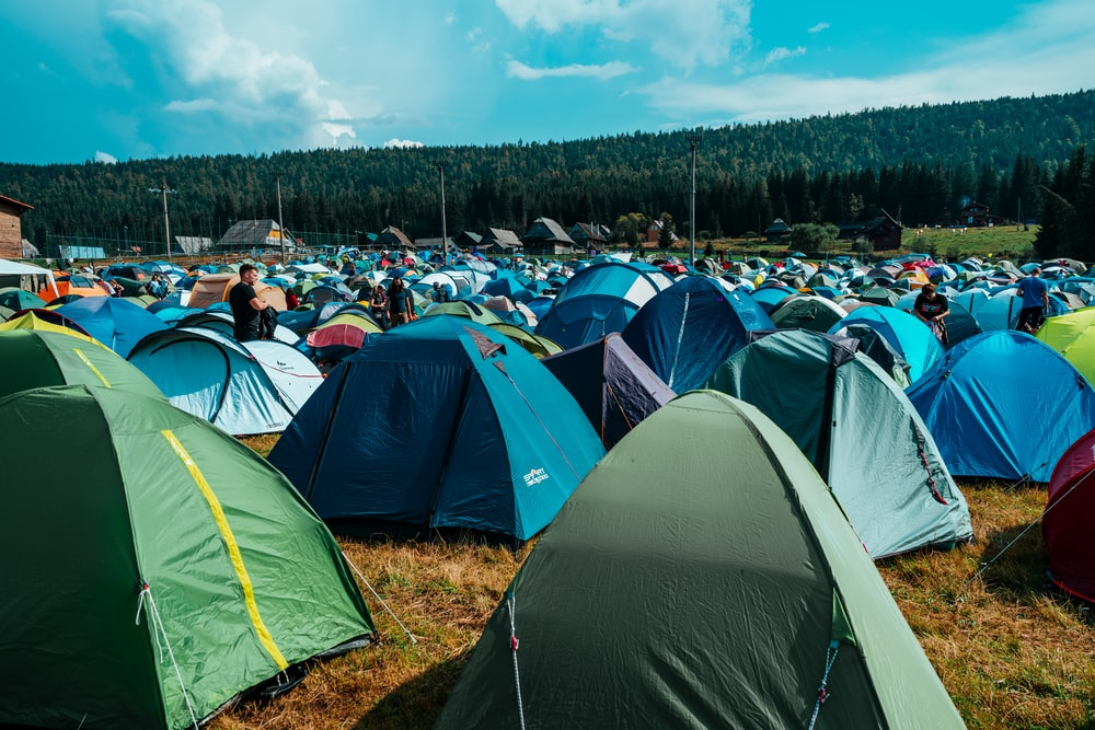 assorted-color camping tents close-up photography