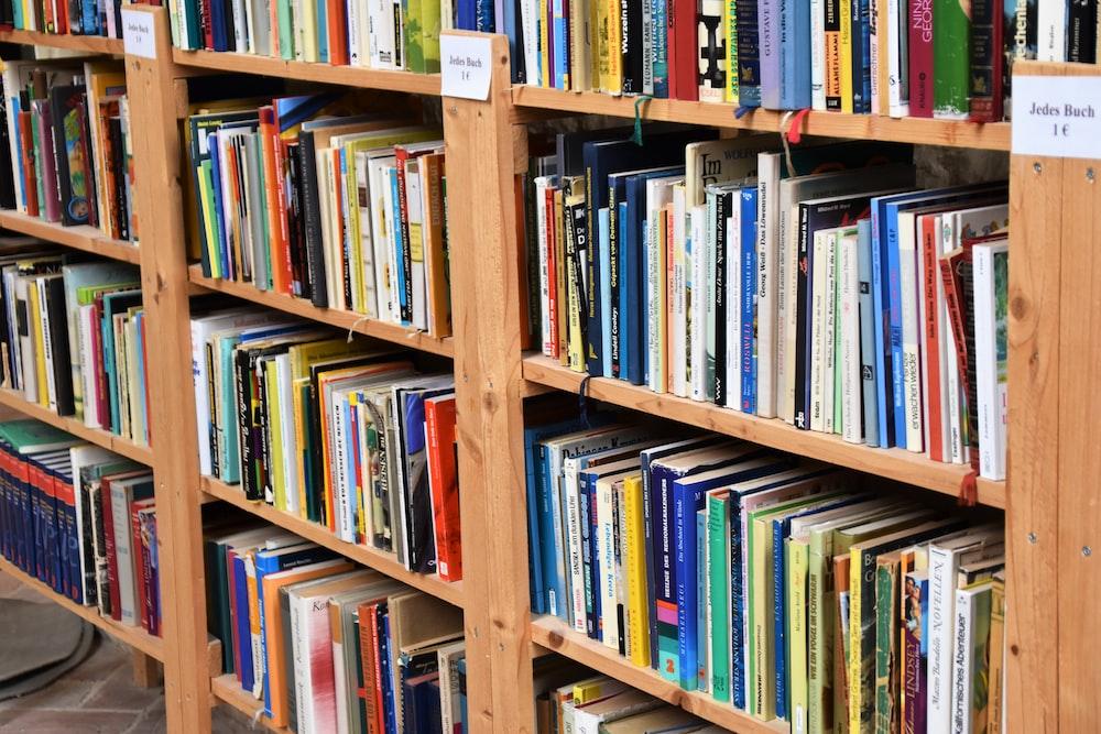 titled book lot in shelf