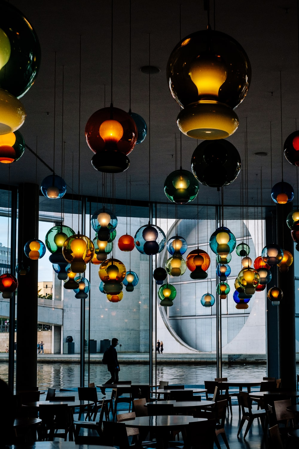 assorted-color pendant lamps close-up photography