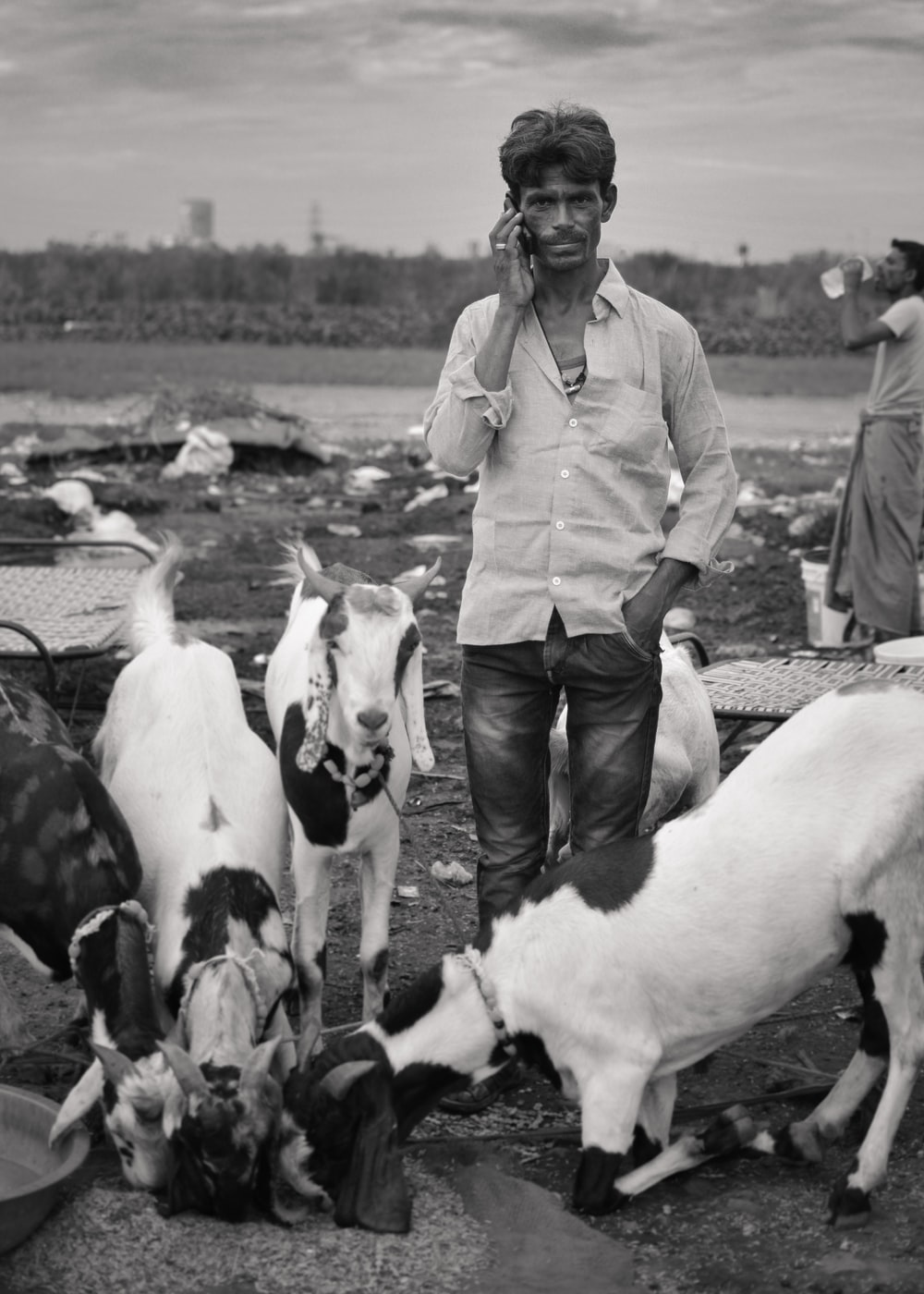 grayscale photo of man surrounded by goat