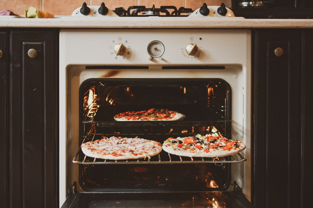 baked pizza in oven