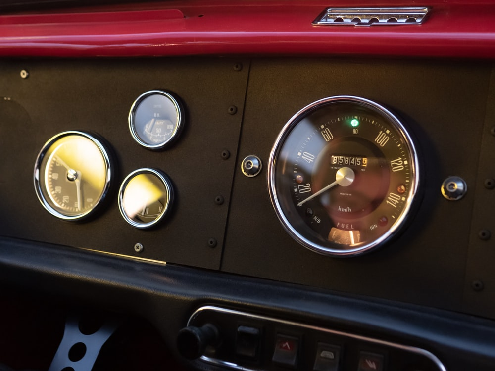 close-up photography of vehicle dashboard
