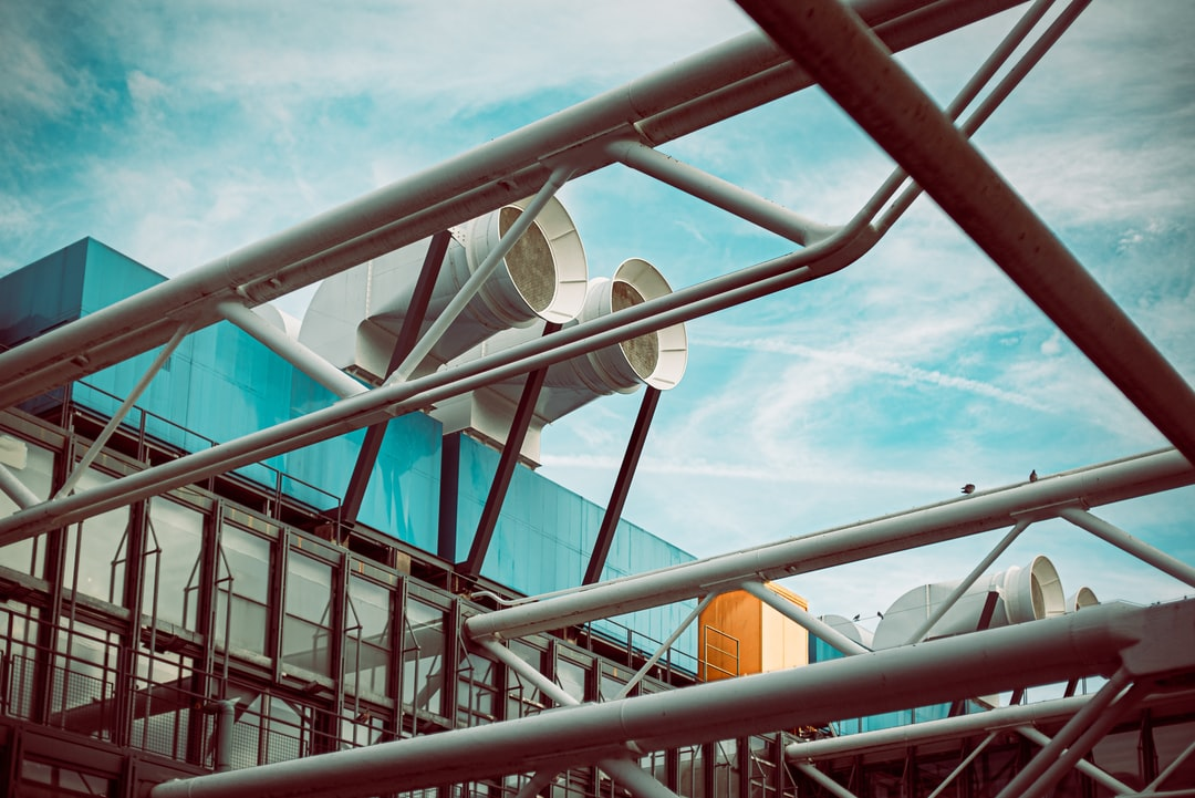 Roof of Centre Pompidou with it's AC and integral structure.  Picdump Paris #1: Architecture