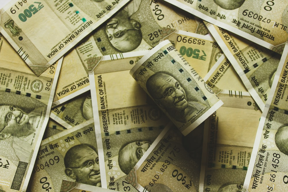 Indian rupee banknote lot close-up photography