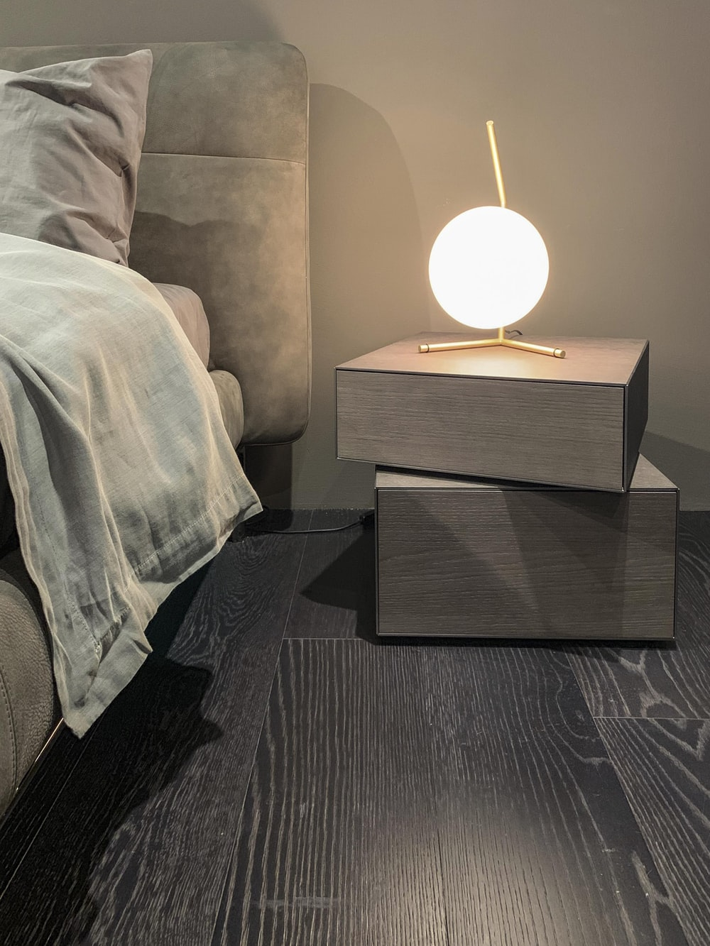 white and brown table lamp close-up photography