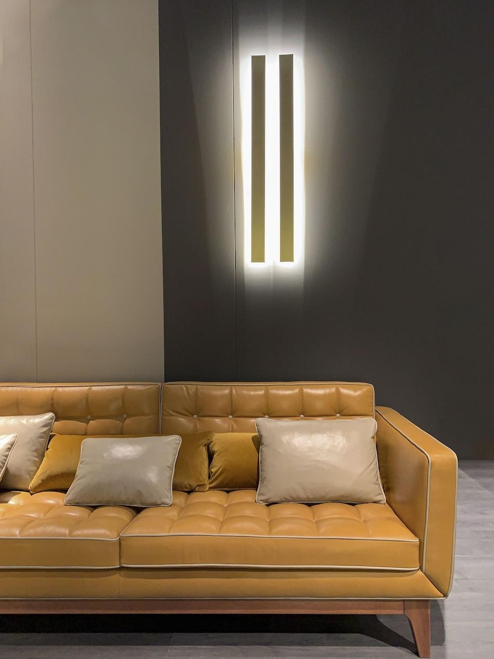 orange leather sofa