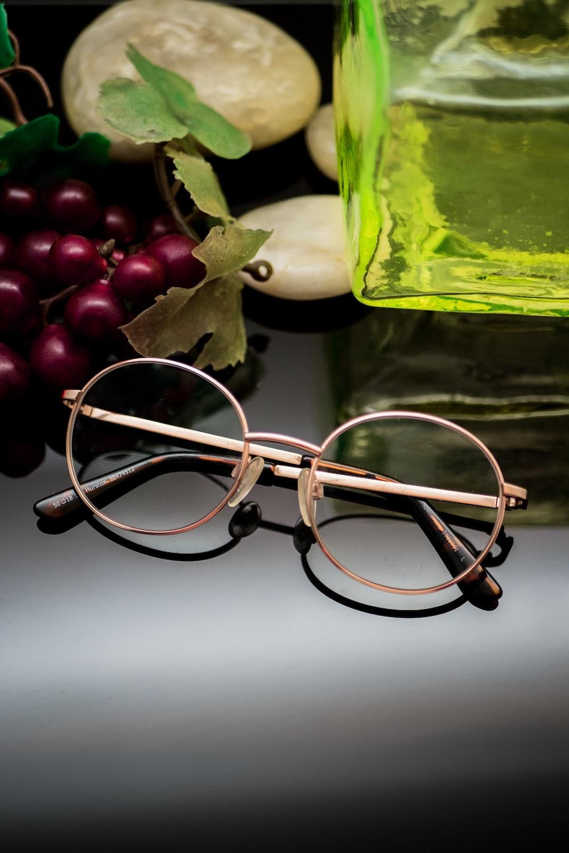 gold-colored eyeglasses