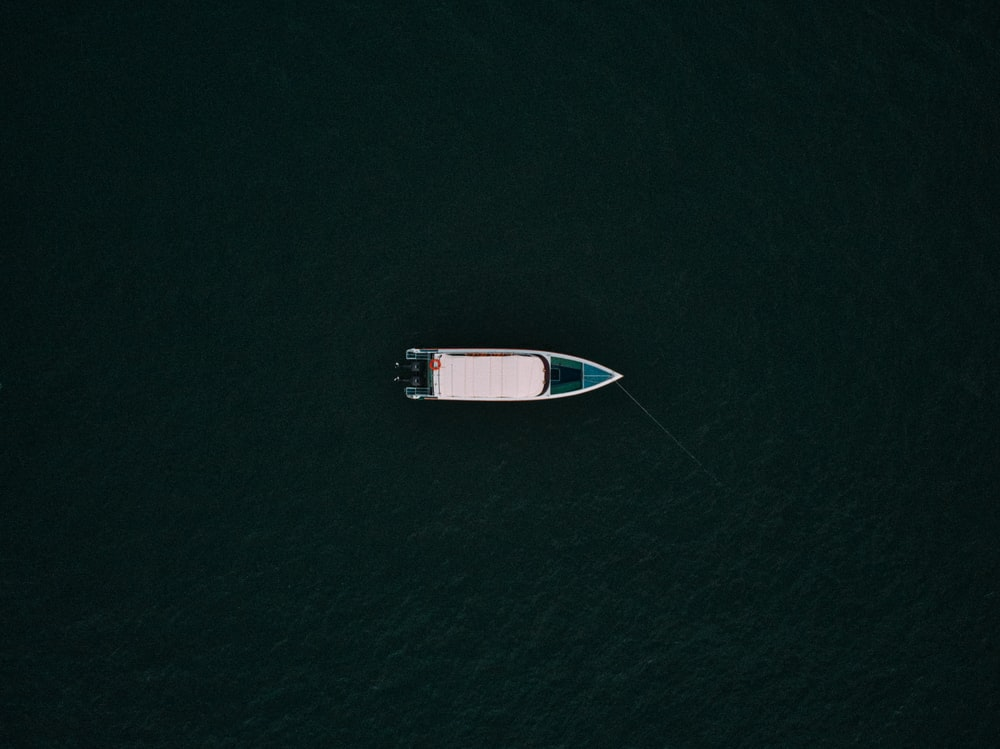aerial photo of motorboat