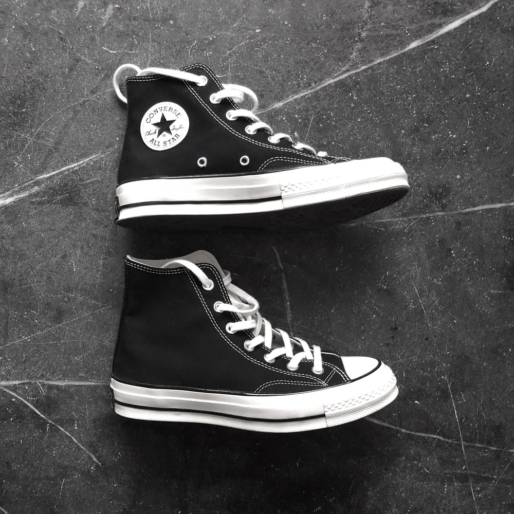 black Converse All Star high top shoes