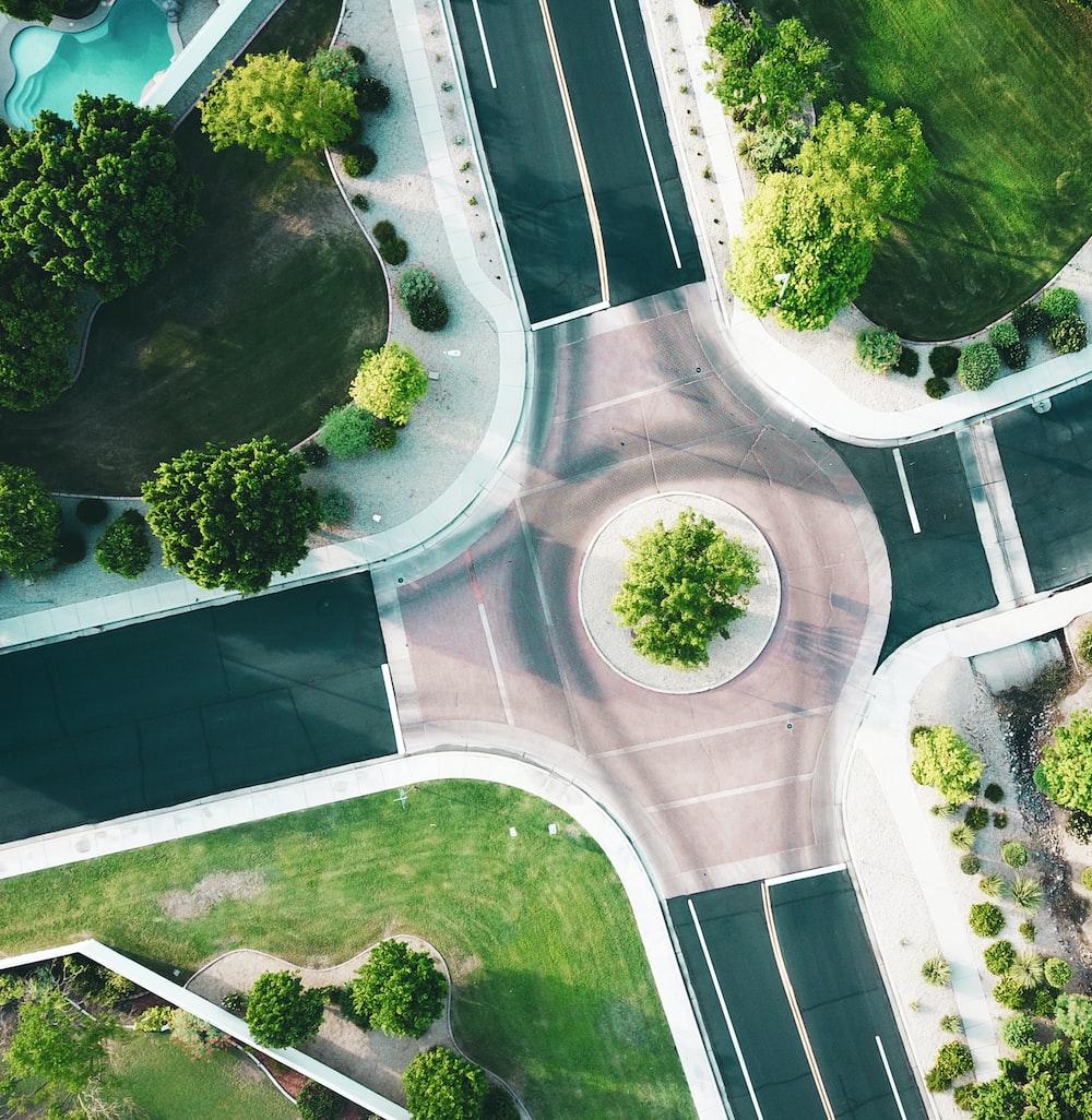 bird's-eye view of asphalt road