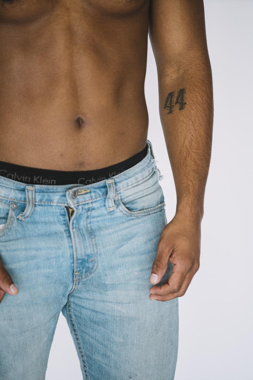 men's blue denim bottoms