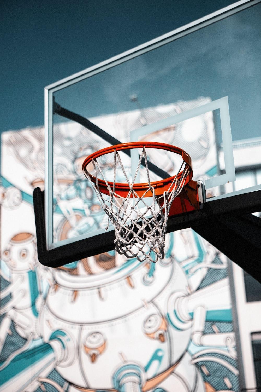 orange and gray basketball hoop