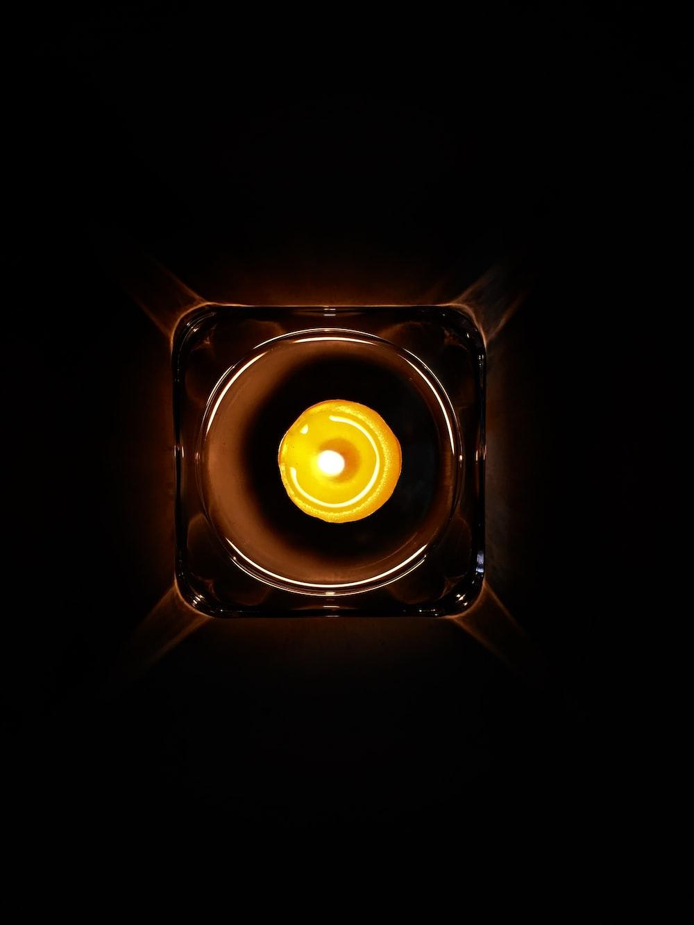 round yellow recessed light