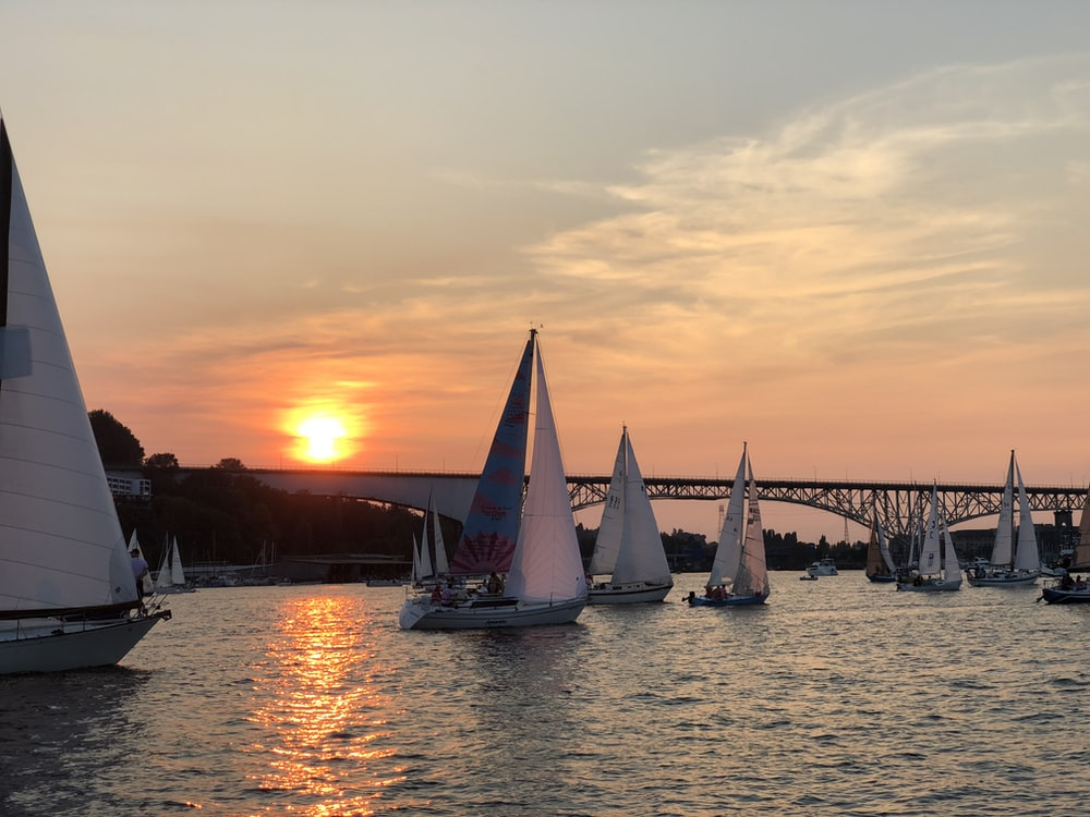 sailboats floating on water near iron bridge during golden hour