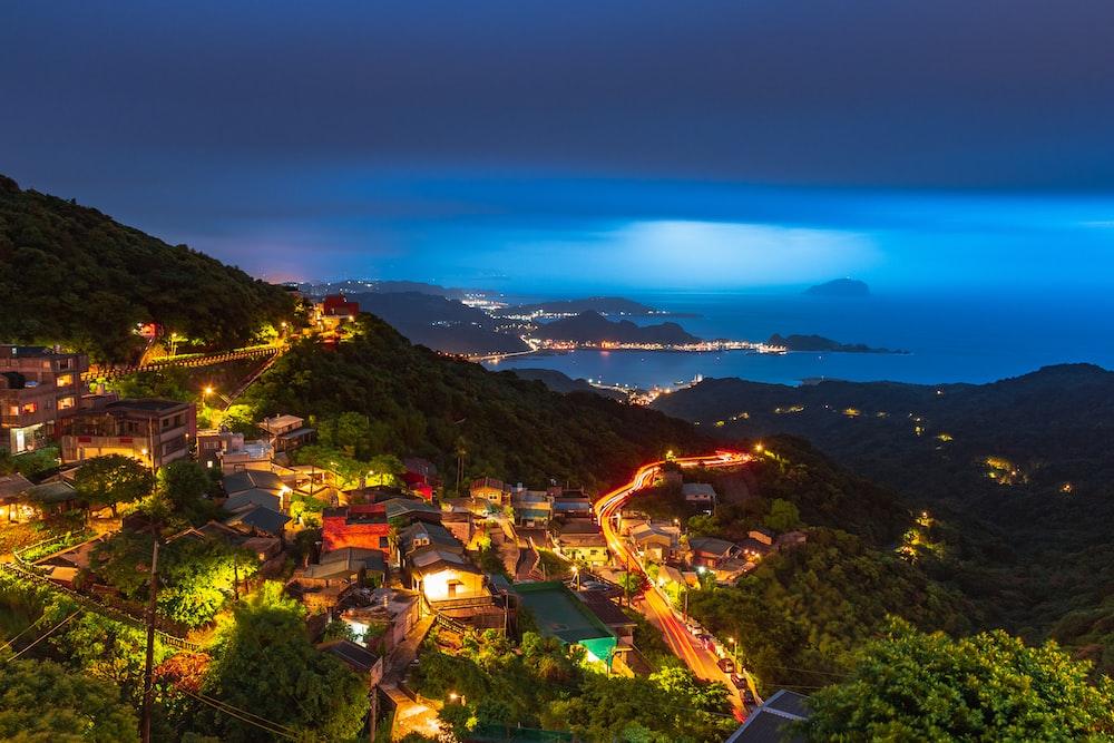 bird's eye view of a mountainside village at night