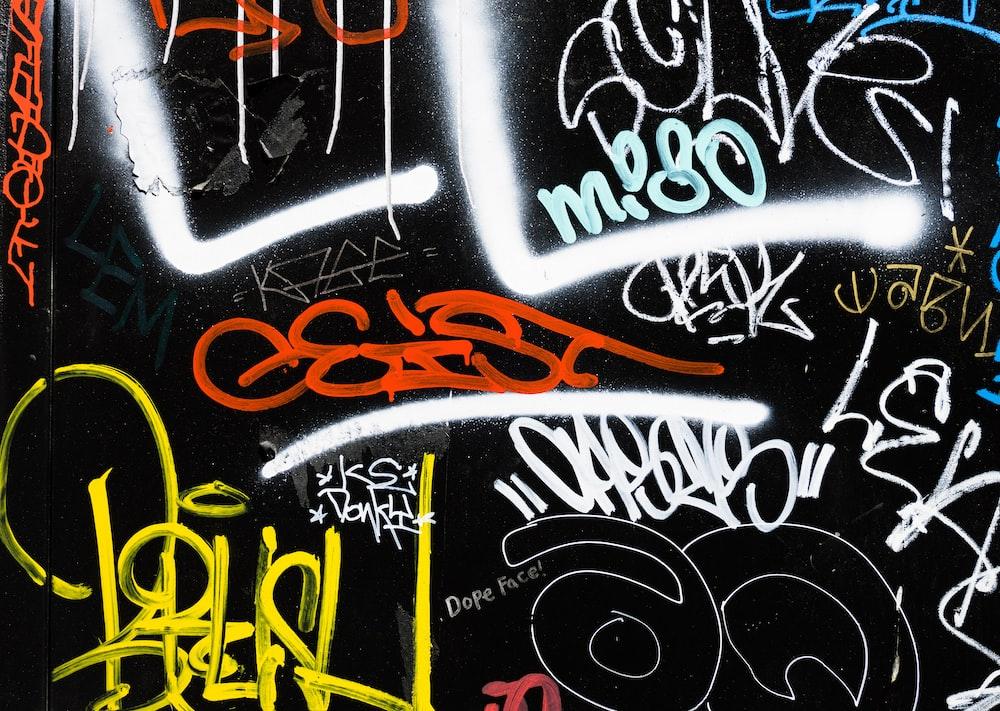 black and multicolored graffiti art