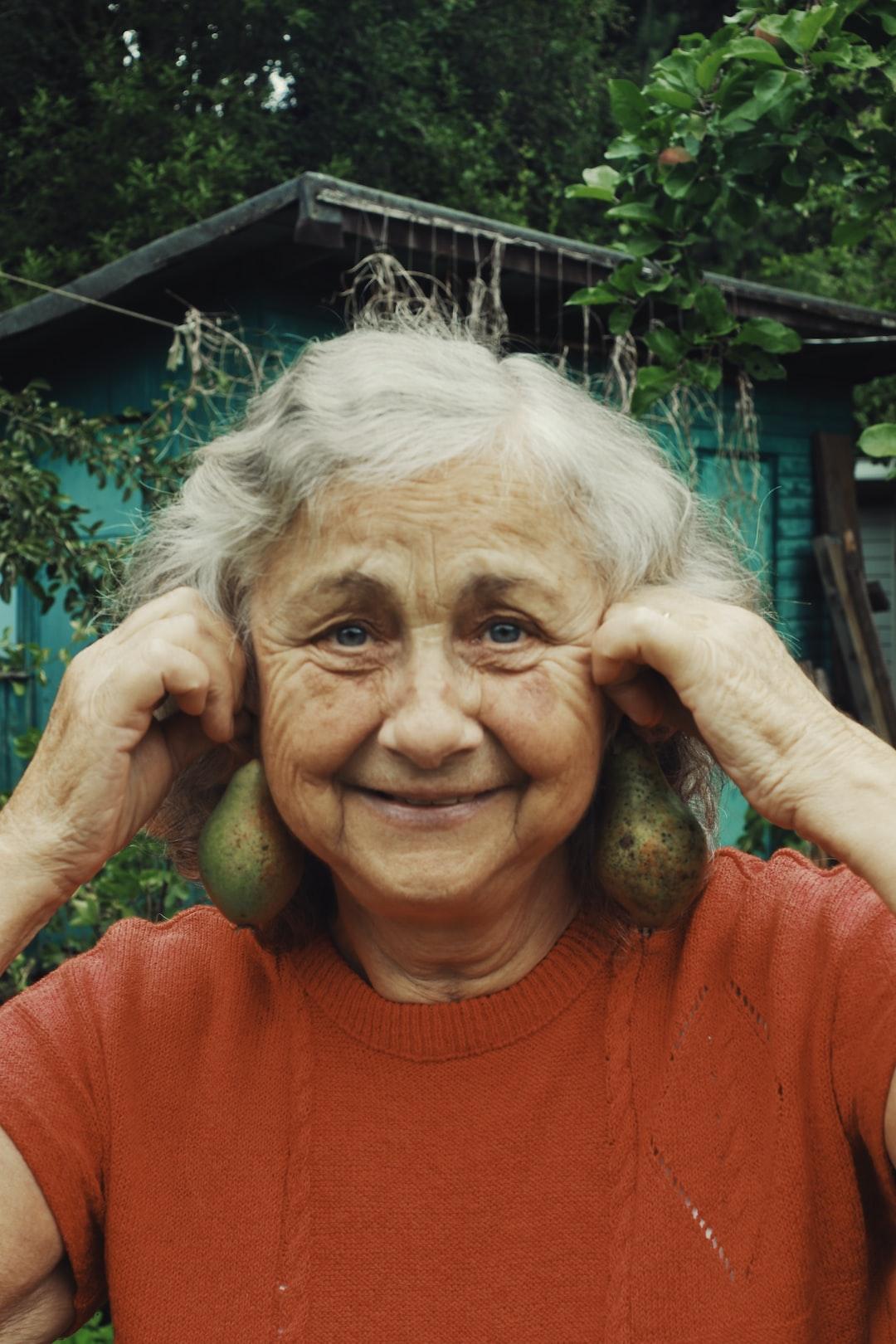 A portrait of an elderly woman