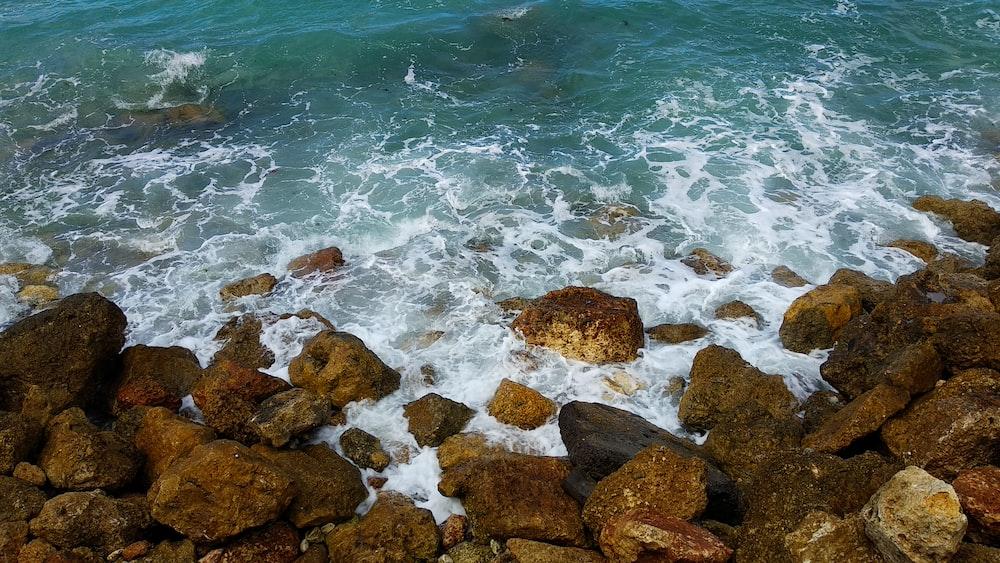rock boulders on seashore