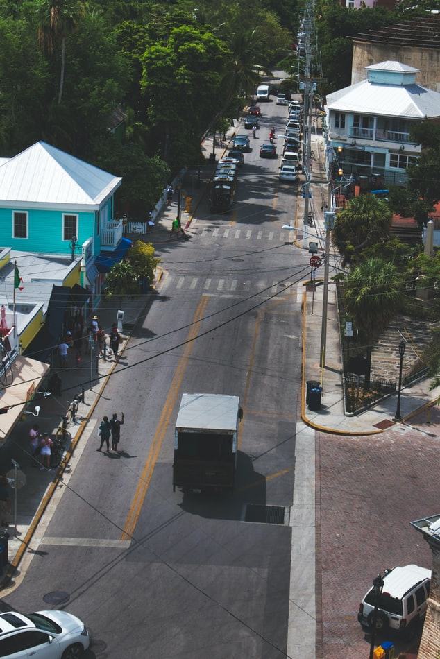 arial view of street in Key West, Florida