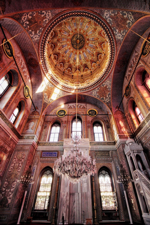 brown interior dome building