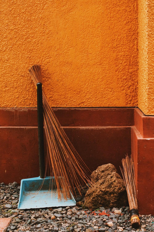 brown stick broom