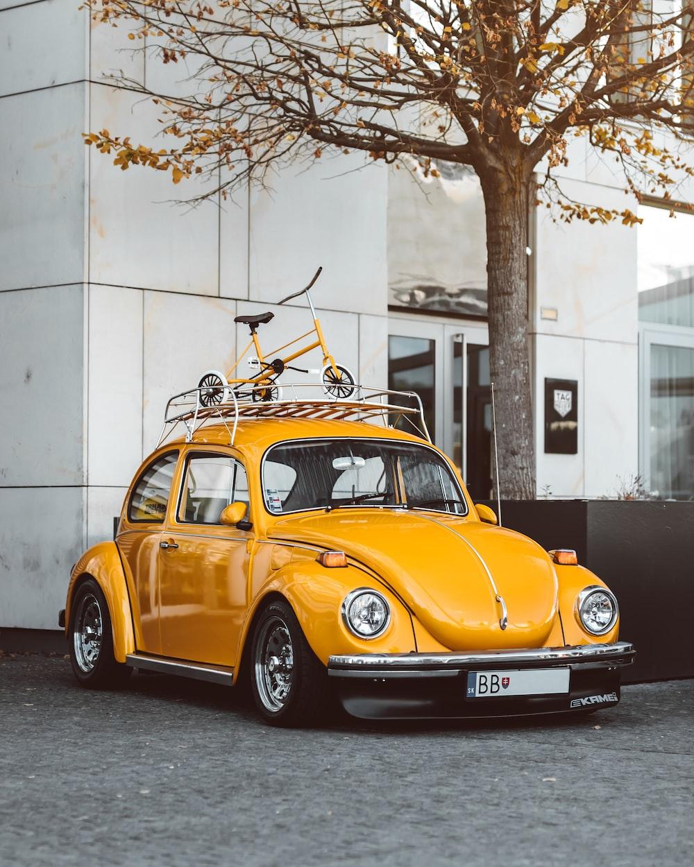 yellow Volkswagen coupe