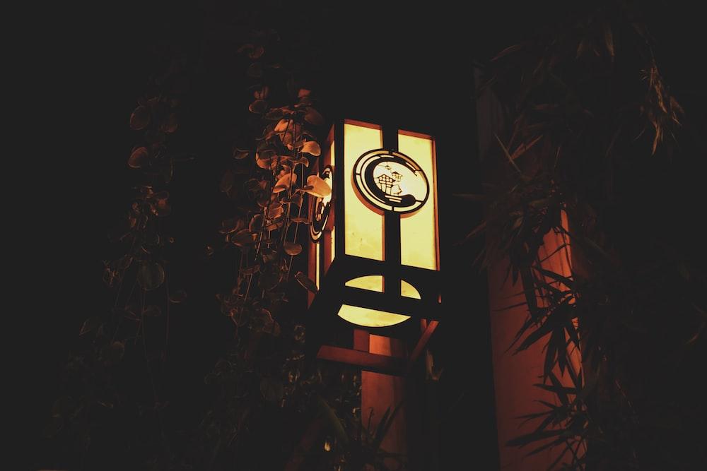brown wooden hanging lamp