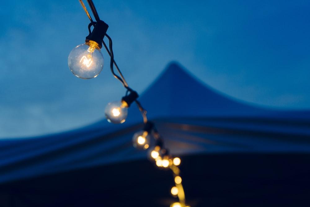 close-up photo of lights at night