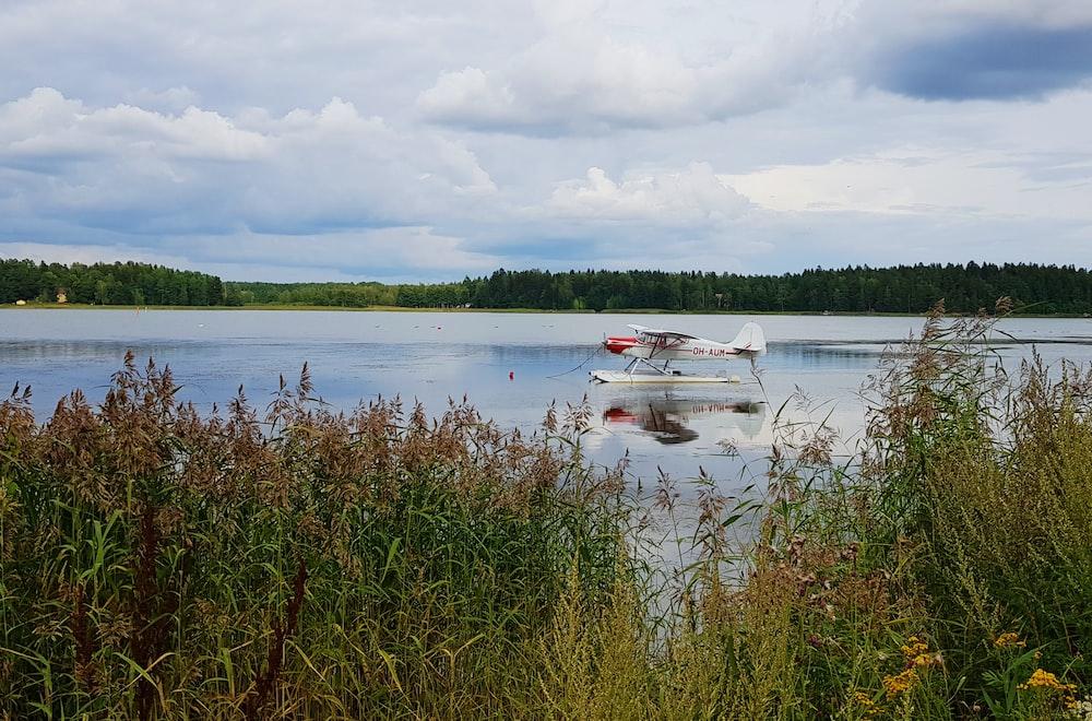 plane on lake