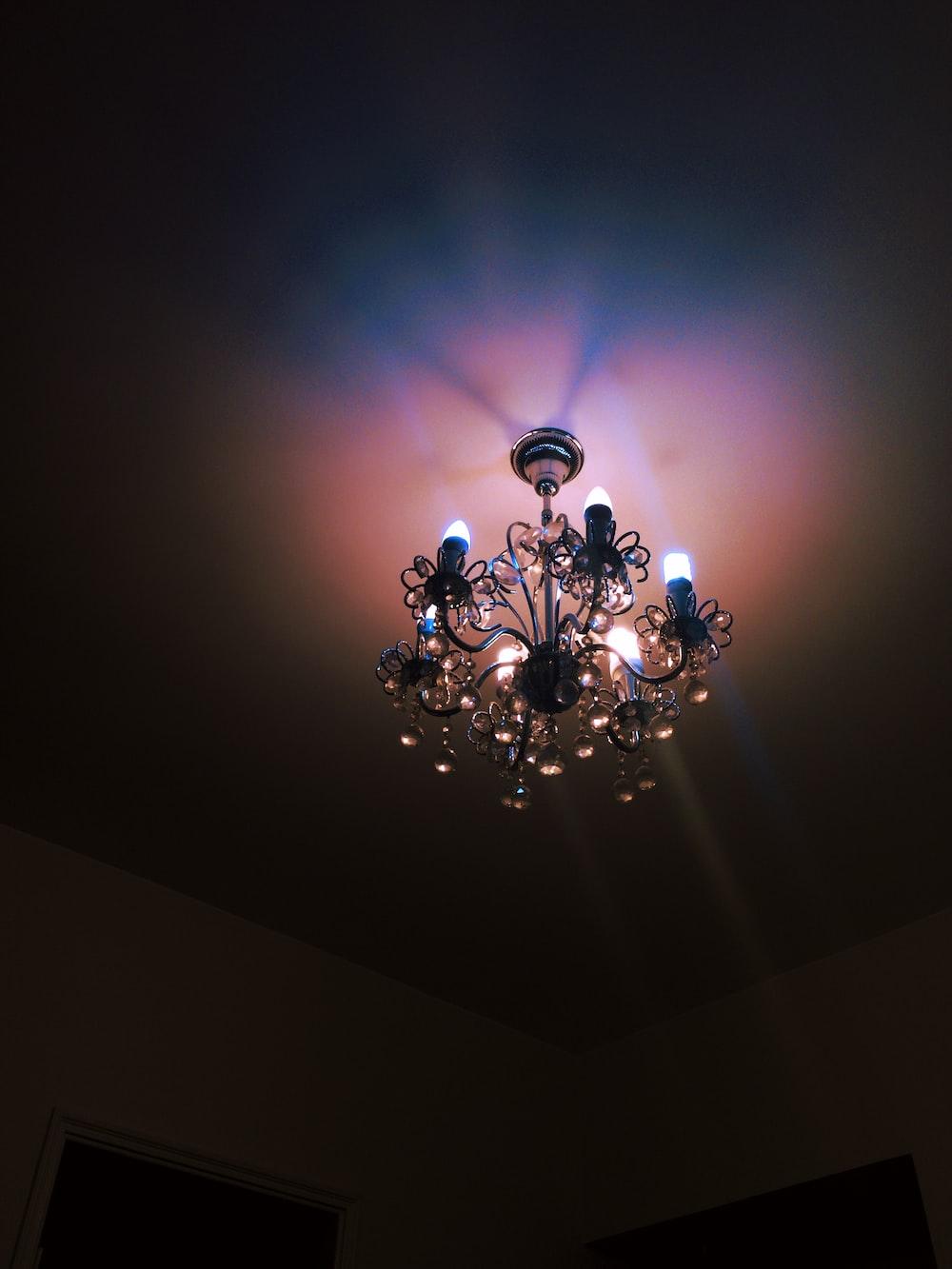 black metal framed uplight chandelier