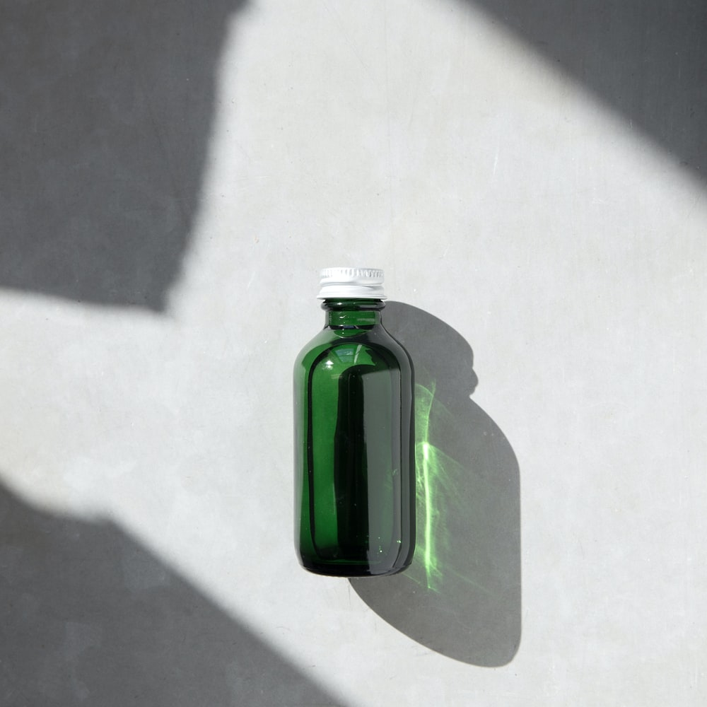 green translucent bottle