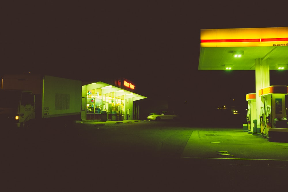 gas station during nighttime